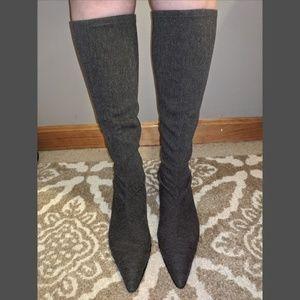 Delman Potion-ST Kitten Heel Grey Stretch boots